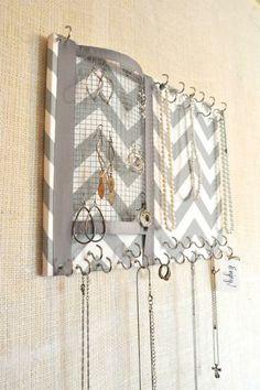 Hook & wire mesh jewelry organizer.