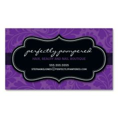 BUSINESS CARD classy flourish violet purple black. This is a fully customizable business card and available on several paper types for your needs. You can upload your own image or use the image as is. Just click this template to get started!