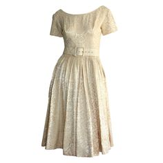 1950s Gigi Young Ivory Floral Silk Dress w/ Belt and Full Skirt | From a collection of rare vintage evening dresses at https://www.1stdibs.com/fashion/clothing/evening-dresses/
