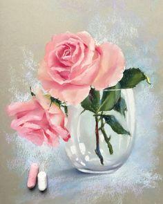 Снова цветы, снова стекло, ну и бумага Derwent✌️ Thank you for the inspiration @carolynrauh #пастель #рисуюпастелью #цветы #цветыпастелью #розы #softpastel #softpastels #derwent #rose #flowers