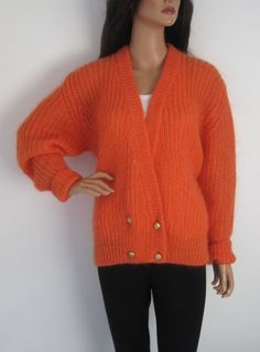 Vintage 1980s Fluffy Orange Mohair Cardigan available to buy online at Virtual Vintage Clothing £24