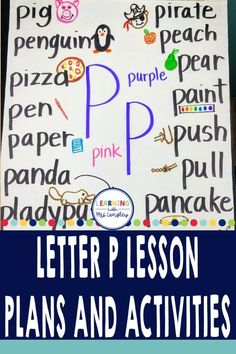 Are you teaching the letter P to your kindergarten classroom? Need activities and lesson plans to support your pre-school curriculum? Teach your preschool or kindergarten student the alphabet by immersing them in activities, rhymes, and projects that begin with your letter of the week. Teach these lessons in one day, a week, or month for younger students. Science, math, art, and reading connections can be made with these fun and detailed lesson plans. Rhyming Activities, Hands On Activities, Alphabet Book, Learning The Alphabet, Kindergarten Centers, Kindergarten Classroom, Word Work Centers, Letter To Parents, Teaching Letters