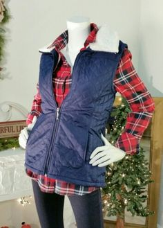 Quilted Navy Vest,plaid Top  lined , sleeve  not lined. Classic Navy Denim Jeggings .  Sale online!