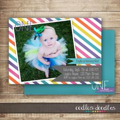 Rainbow Photo Birthday Invitation / 1st, 2nd, 3rd Birthday Invitation / Girl's Birthday Invitation / Rainbow  Stripes - Printable on Etsy, $16.39 AUD