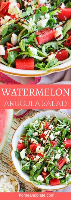 Watermelon Arugula Salad   Sweet watermelon, juicy cucumber and salty feta cheese are the perfect flavor combination nestled on top of tangy arugula.   www.homeandplate.com