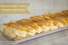 Tarta de hojaldre, crema y manzanas caramelizadas   Cocinar en casa es facilisimo.com