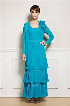 Sheath/Column Scoop Ankle-length Chiffon Mother of the Bride Dress