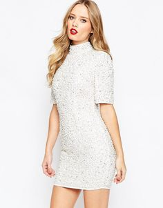 Image 1 of ASOS Premium Pearl Scatter Mini Body-Conscious Dress