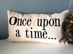 Once upon a time  Hand Stamped Lumbar Pillow Cover door JoshuaByOak, $38.00