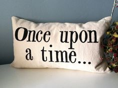 Once upon a time  Hand Stamped Lumbar Pillow Cover by JoshuaByOak, $38.00
