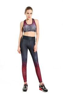 2016新款红黑花纹塑身显瘦运动透气吸汗九分瑜伽裤yoga-0006