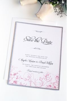 Pink and Grey Save the Date Card, Elegant, Classy, Pink Roses, Premium Cardboard New by Paradise Invitations by ParadiseInvitations on Etsy