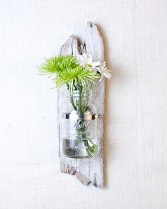Wall Vase - Large- Driftwood and Mason Jar. $37.00, via Etsy.