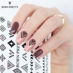 2 Patterns Sheet Born Pretty Triangle Diamond Shape Nail Art Water Decals Transfer Sticker Pretty Nails Acrylic Nail Designs From - Nail Water Decals, Nail Art Stickers, Cute Nail Designs, Acrylic Nail Designs, Triangle Nail Art, Nagellack Design, Nailart, Nail Patterns, Pretty Nail Art