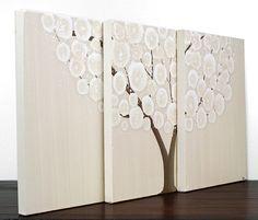 Хаки картина дерево - Оригинальные холст, акрил Триптих - Средний 29X12 - Нейтральный Home Decor