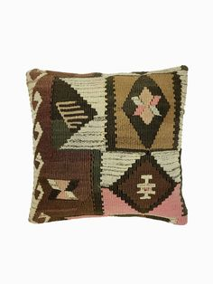 "This one of a kind decorative pillow cover has been made from genuine Turkish handwoven vintage kilim rugs directly sourced from Asia Minor proudly by Pillowtolia. Vintage | Size:16""x16"" 