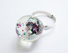 Galaxy Resin Orb Sphere Cocktail Ring Resin Bauble by KandiKookiez, $10.00