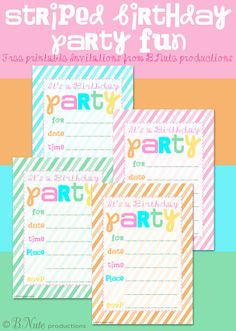 bnute productions: Free Printable Striped Birthday Party Invitation
