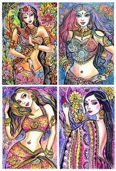 Indian Art, Asian Art, Goddess Art, Kuan Yin, Kali, Hindu Goddess, Indian Art, Indian Woman, Dancing Girl, Wall Decor  - Print Set