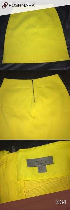 "NWOT COS HOTTTT YELLOW SKIRT NWOT STATEMENT SKIRT IN YELLOW BU COS! Make this your spring! Never worn or washed! 💕 MUST HAVE 💕  🌺15"" laying flat waist 🌺19"" top to bottom 🌺44% Cotton , 30% viscose, 25% Polyester, 1% Elastane   🌸🎀 I offer a bundle discount! Feel free to shop around my closet! Enjoy! 🎀🌸 COS Skirts Midi"