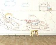 "Mural infantil de papel pintado ""Carreras"""