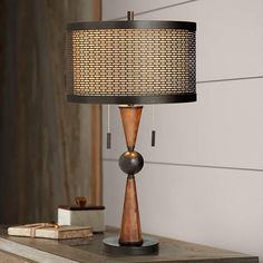 Mid Century Modern Table Lamp Wood Bronze Metal Shade for Living Room Bedroom Farmhouse Table Lamps, Rustic Table Lamps, Table Lamp Wood, Modern Living Room Table, Living Room Lighting, Modern Room, Mid Century Modern Table, Contemporary Table Lamps, Iron
