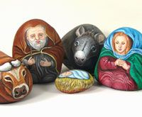Nativity characters painted on stone!