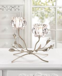 2 CRYSTAL COLOR FLOWERS IRON VINE CANDLE HOLDER TABLE CENTERPIECES~10016363 #Unbranded
