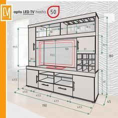 40 Cool TV Stand Dimension And Designs For Your Home – Engineering Discoveries – designer furniture Tv Cabinet Design, Tv Wall Design, Tv Unit Design, Home Engineering, Modern Tv Wall Units, Tv Unit Furniture, Tv Stand Designs, Living Room Tv Unit, Muebles Living
