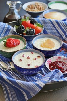 Shir Berenj or Shirbinish as us Tabrizis call it, is rice pudding, Persian style. This creamy pudding is cooked without any added sugar and different toppings such as fruits and nuts, maple syrup, melted chocolate, or honey as well as fruit preserves are added when serving.
