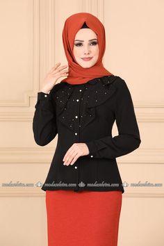 Modaselvim BLUZ GÖMLEK İnci Detaylı Gömlek PL903 Siyah Blouse, Long Sleeve, Sleeves, Tops, Fashion, Muslim Fashion, Short Dresses, Blouse Band, Moda