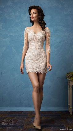 amelia sposa 2017 bridal three quarter sleeves semi sweetheart neckline  full embellishment sexy mini skirt short ecb542e7c0ba