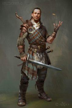 m Scottish Rogue Arcane Trickster Leather Armor Swords dice midlvl