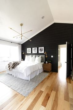 Black Wall in Master Bedroom, Bedroom with Black Walls, Black Shiplap, Brass in Bedroom