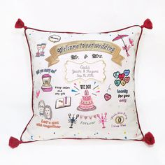 """Welcome cushion """"LOVE&CHIC"""" RED 