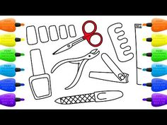 How to Draw Set for Nail Polish   Coloring Pages Manicure Tool for Girls - Vidinterest