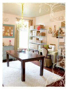 A) I love the chandelier. B) I like the idea of a pretty little desk for sewing. C) I don't think I spelled chandelier correctly...