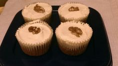Carrot cake cupcakes with walnuts and buttercream frosting