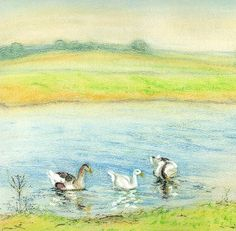 #Geese at the lake in Russia #art by #Linandara
