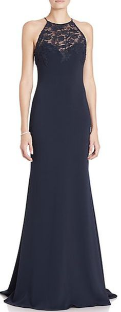 Badgley Mischka Lace Inset Racerback Gown