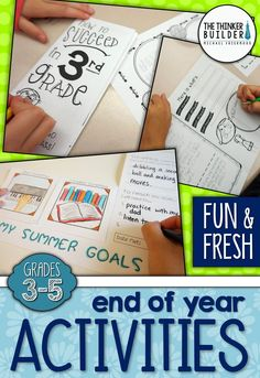 "Fun and fresh End-of-the-Year activities, including a ""How to Succeed"" brochure to give to next year's class, a ""Song and Dance of Learning"" group project, a ""Summer Goals"" flap booklet, a ""Suitcase of Memories"" keepsake, and more!. For Grades 3-5 ($)"