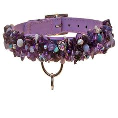 Hematite, blue agate, mother of pearl, fire crystals and amethyst combine to catch the light and highlight the glint in your puppy's eye in this dog collar.