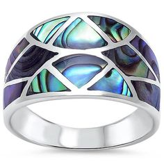 Stunning New Abalone Shell Design Fashion Ring. Fine silver pure) is generally too soft and malleable for Sterling Silver Ring Sizes Clean Sterling Silver, Sterling Silver Jewelry, 925 Silver, Silver Wedding Jewelry, Silver Jewellery, Silver Bracelets, Cuff Bracelets, Wedding Rings, Mother Of Pearl Jewelry