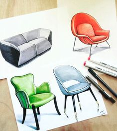 Furniture in draw. Interior Design Tools, Interior Design Sketches, Industrial Design Sketch, Design Projects, Deco Furniture, Furniture Design, Drawing Furniture, Drawing Interior, Portfolio Design