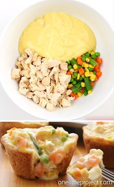 These mini chicken pot pies are ridiculously easy to make! You only need four ingredients and they come together in less than 30 minutes. These are such a fun and delicious meal idea when you have a craving for comfort food! Easy Casserole Recipes, Easy Dinner Recipes, Easy Dinner Meals Healthy, Easy Yummy Recipes, Healthy Delicious Meals, Good Meals, Kids Cooking Recipes Easy, Easy Comfort Food Recipes, Kids Cooking Activities