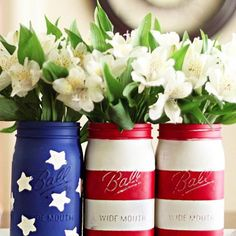 We love mason jars for all things organizing. But as summer comes to an end, sometimes they are pretty just dressed up in red, white, and blue! #🇺🇸 #laborday #labordayweekend #summer