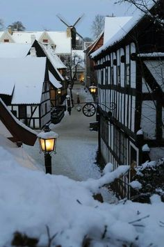 Snow in a village.