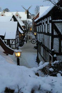 Snow in a village.