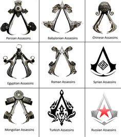 Assassin symbols from Assassin's Creed.