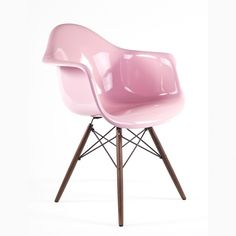 Mid-Century Modern Reproduction DAW Fiberglass Arm Chair - Glossy - Pink…